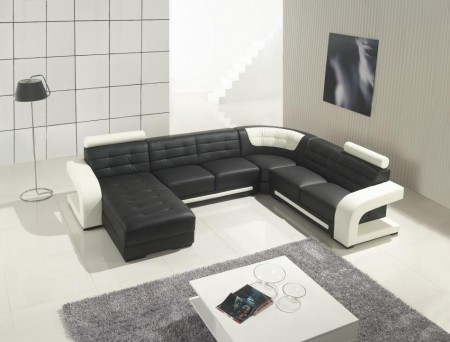Divani Casa T139 Sectional Sofa in Black Leather U Shape
