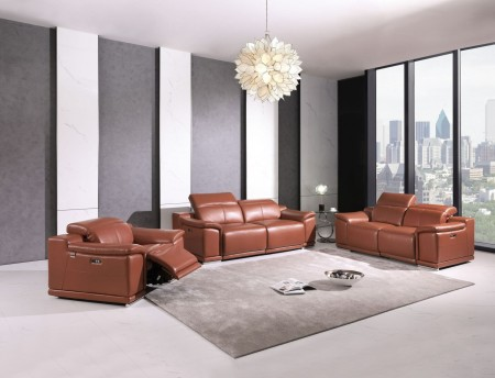 Divanitalia 9762 Reclining Living Room Set in Camel Leather