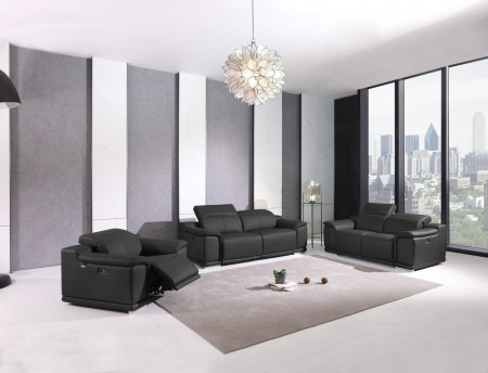 Divanitalia 9762 Reclining Living Room Set in Gray Leather