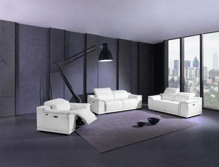 Divanitalia 9762 Reclining Living Room Set in White Leather