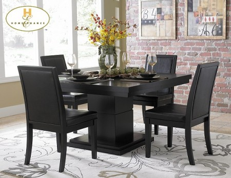5235-54 Cicero Collection Modern Square Black Finish Dining Set