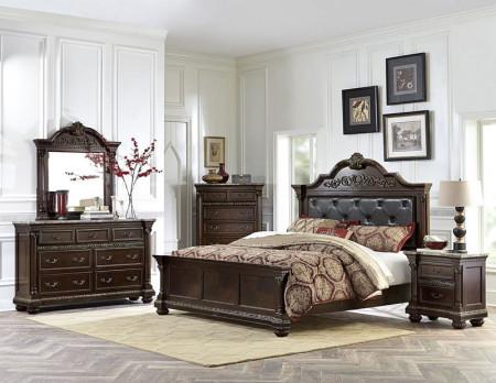 Russian Hill Bedroom Set in Dark Cherry Finish