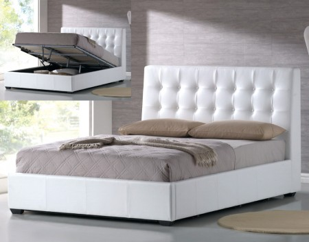 Athens Platform Storage Bed in White by At Home USA