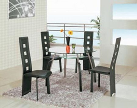 A08BDT Contemporary Round Glass Top Black Dining Set