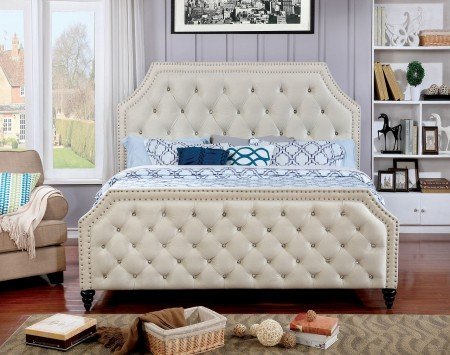 Claudine Platform Bed n Beige Fabric