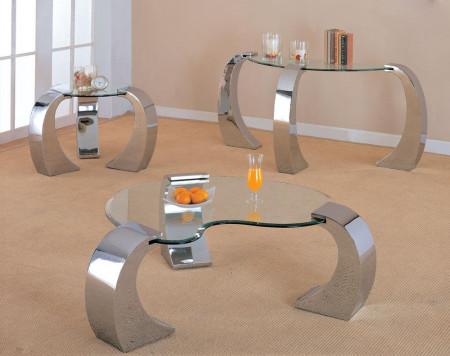 Heart Shape Glass Coffee End Table Set