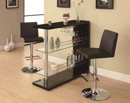 100165 Rectangular Home Bar in Black with Glass Shelves