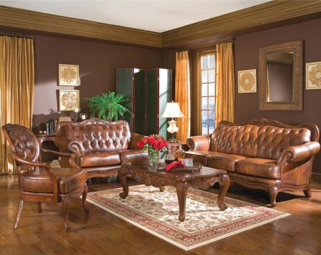 500680 Victoria Living Room Set in Brown Leather