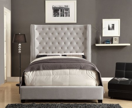 Mirabelle Platform Bed in Ivory with Tall Headboard