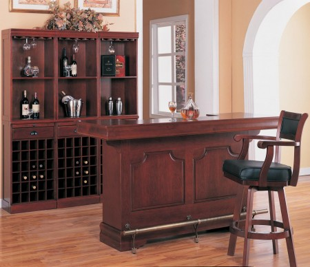 3078 Coaster Traditional Solid Wood Home Bar Unit with Built-In Sink