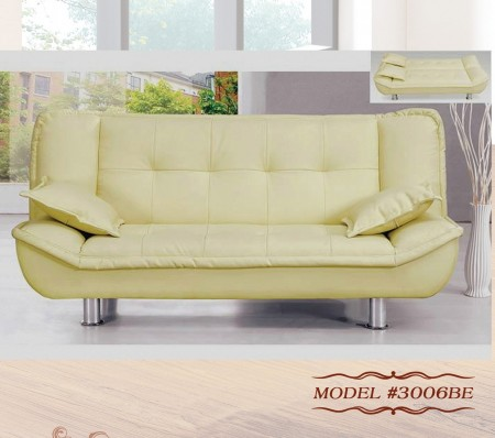 3006BE Empire Furniture Beige PU Klik Klak Sofa Bed Sleeper