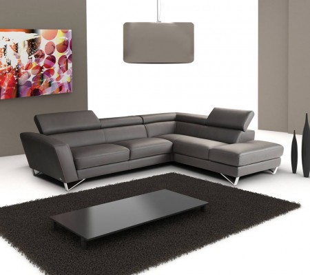 Sparta Sectional Sofa in Grey Italian Leather