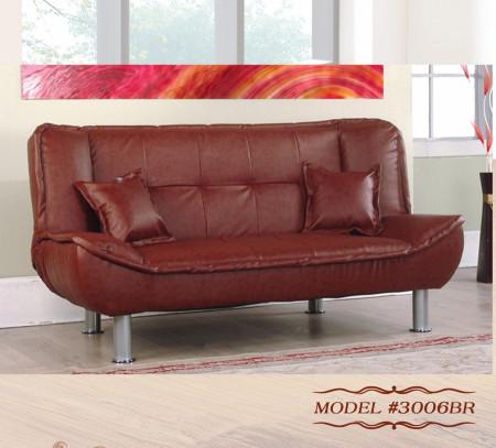 3006BR Empire Furniture Brown PU Klik Klak Sofa Bed Sleeper