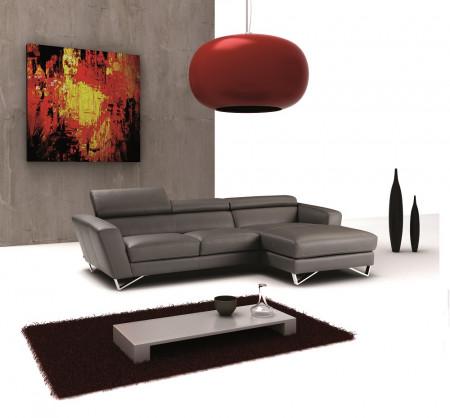 Nicoletti Sparta Mini Sectional Sofa in Grey Leather