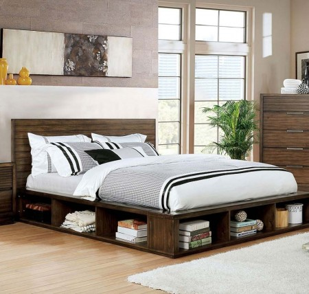 Torino Modern Bedroom Set in Walnut with Bookcase Footboard