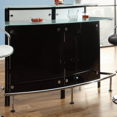 100139 Black Home Bar with Frosted Glass Counter Tops