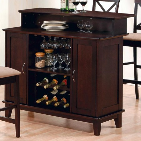 100218 Contemporary Home Bar in Cappuccino Finish