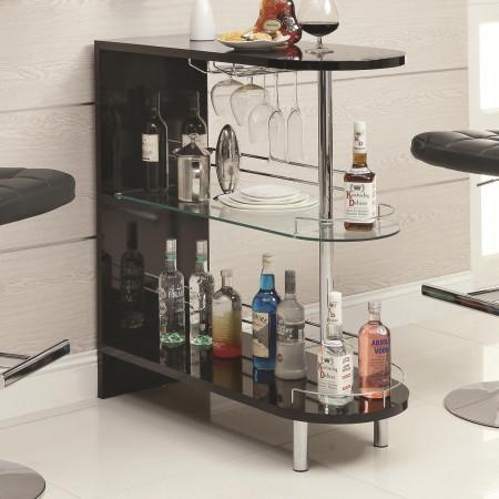 101063 Contemporary Black Home Bar with Glass Shelves