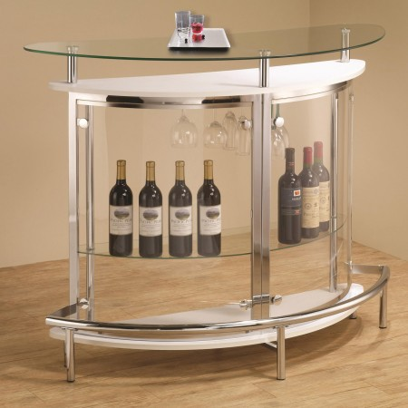 101066 Contemporary Home Bar in White with Clear Front