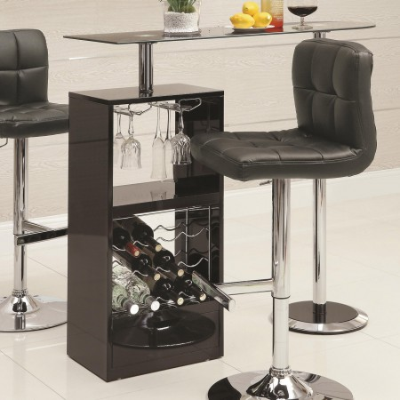 120451 Modern Black Bar Table with Glass Top and Storage