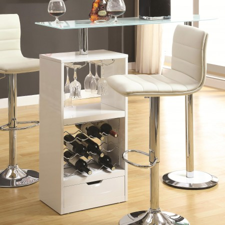 120452 White Bar Table with Glass Top and Storage