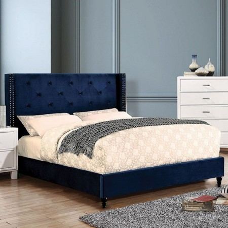 Anabelle Platform Bed in Navy Fabric