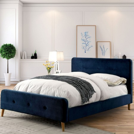 Barney Platform Bed in Navy Fabric