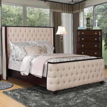 Camille Bedroom Set in Brown with Beige Bed