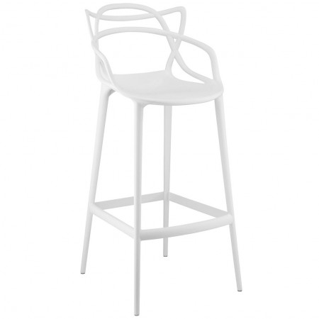 Entangled White Modern Bar Stools - Set of 2