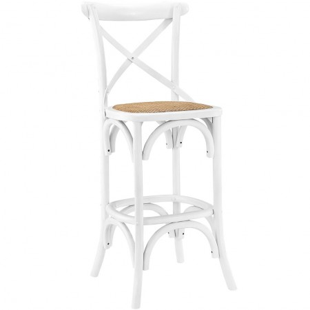 Gear Classic Bar Stools in White Finish Wood