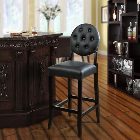 EEI-816 Button Black Upholstered Bar Stool