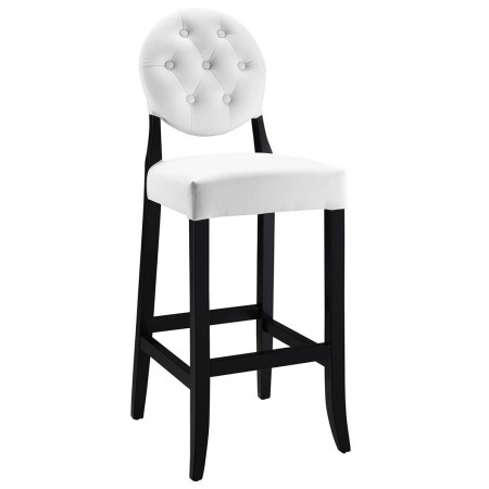 EEI-816 Button White Upholstered Bar Stool