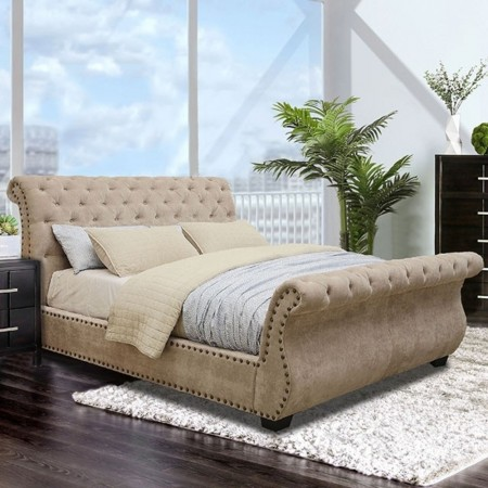 Noemi Sleigh Bedroom Set in Dark Brown and Mocha