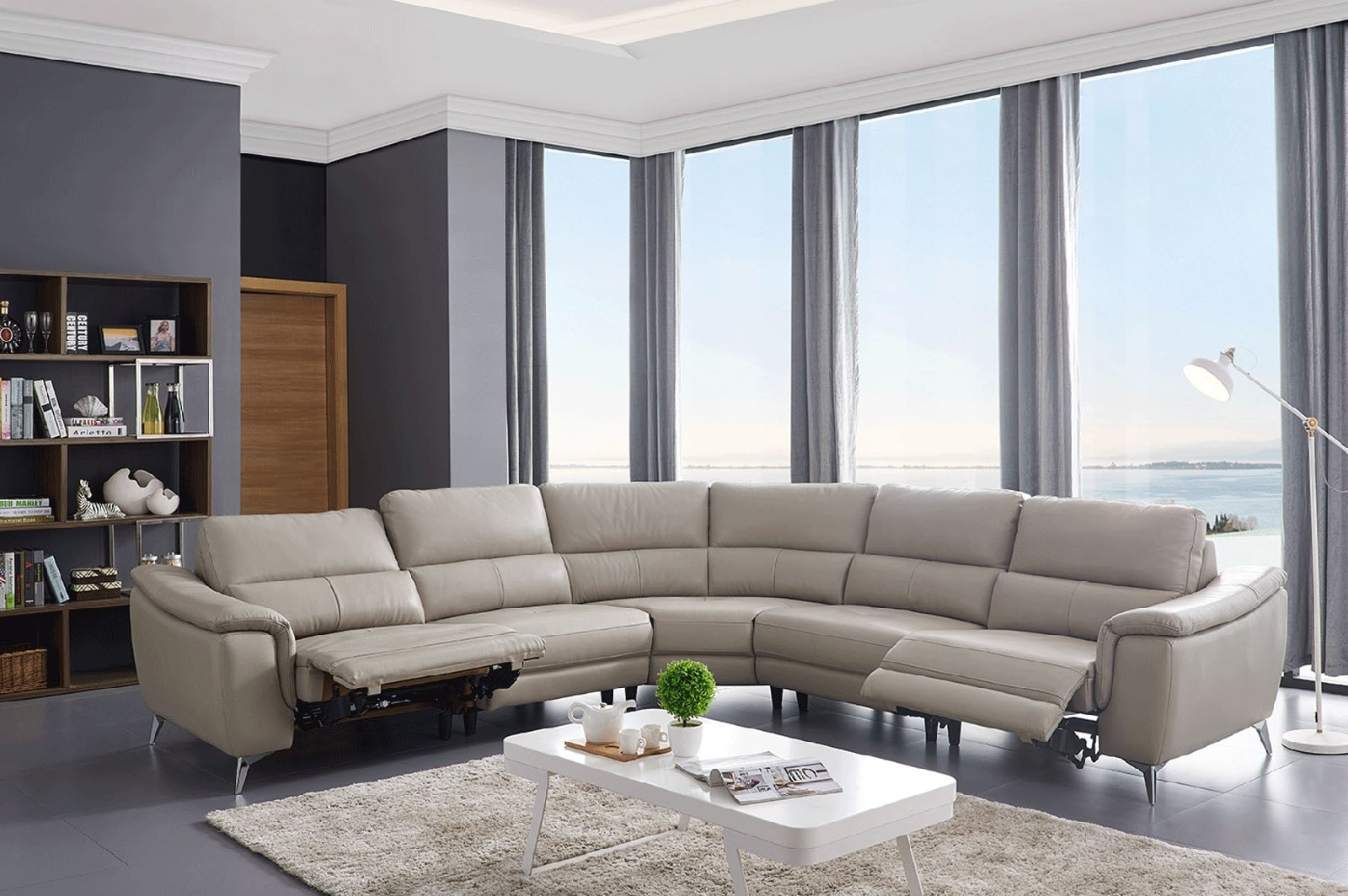 ESF 951 Reclining Sectional Sofa in Light Grey Leather
