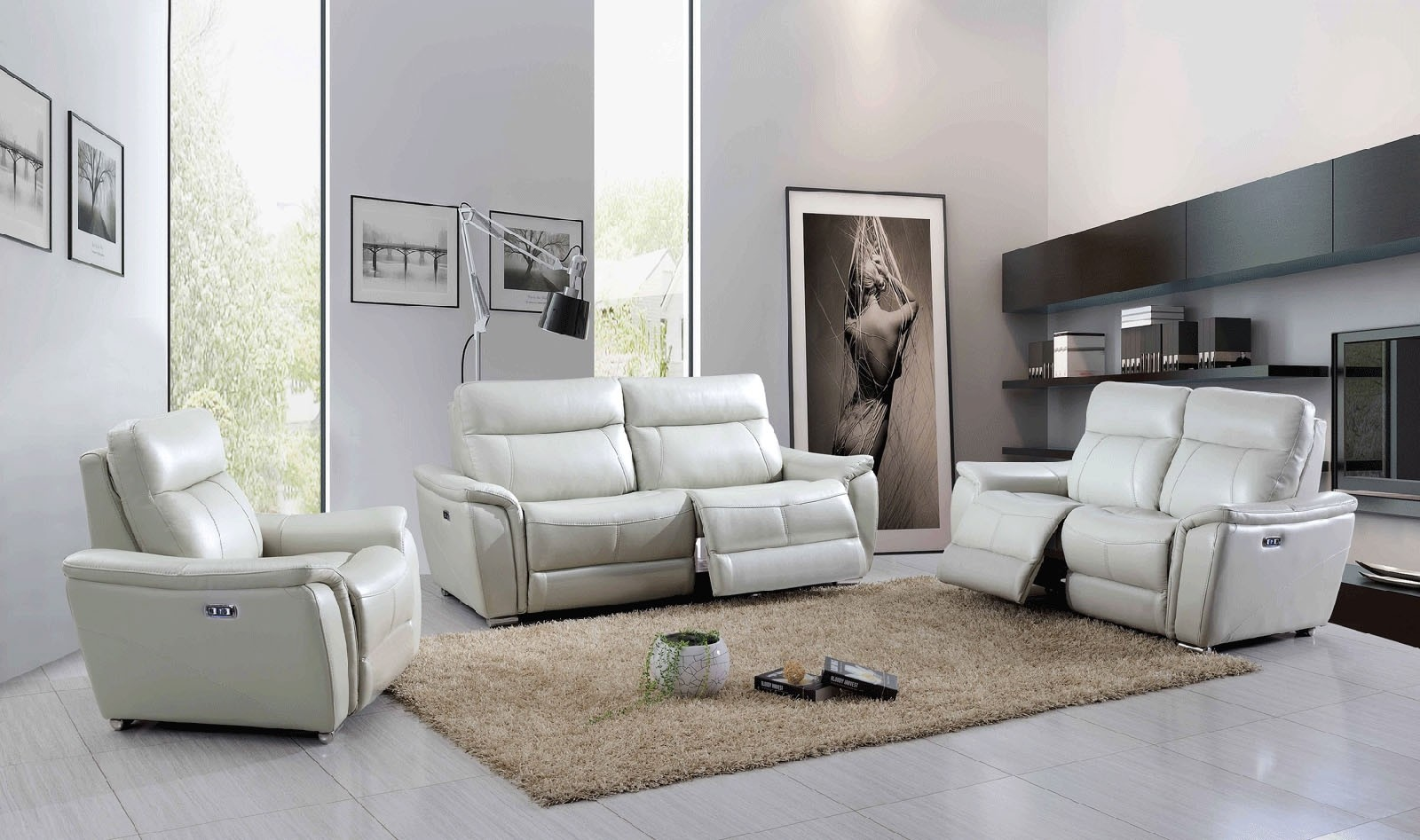 1705 Living Room Set in Light Grey Leather Power Recliners