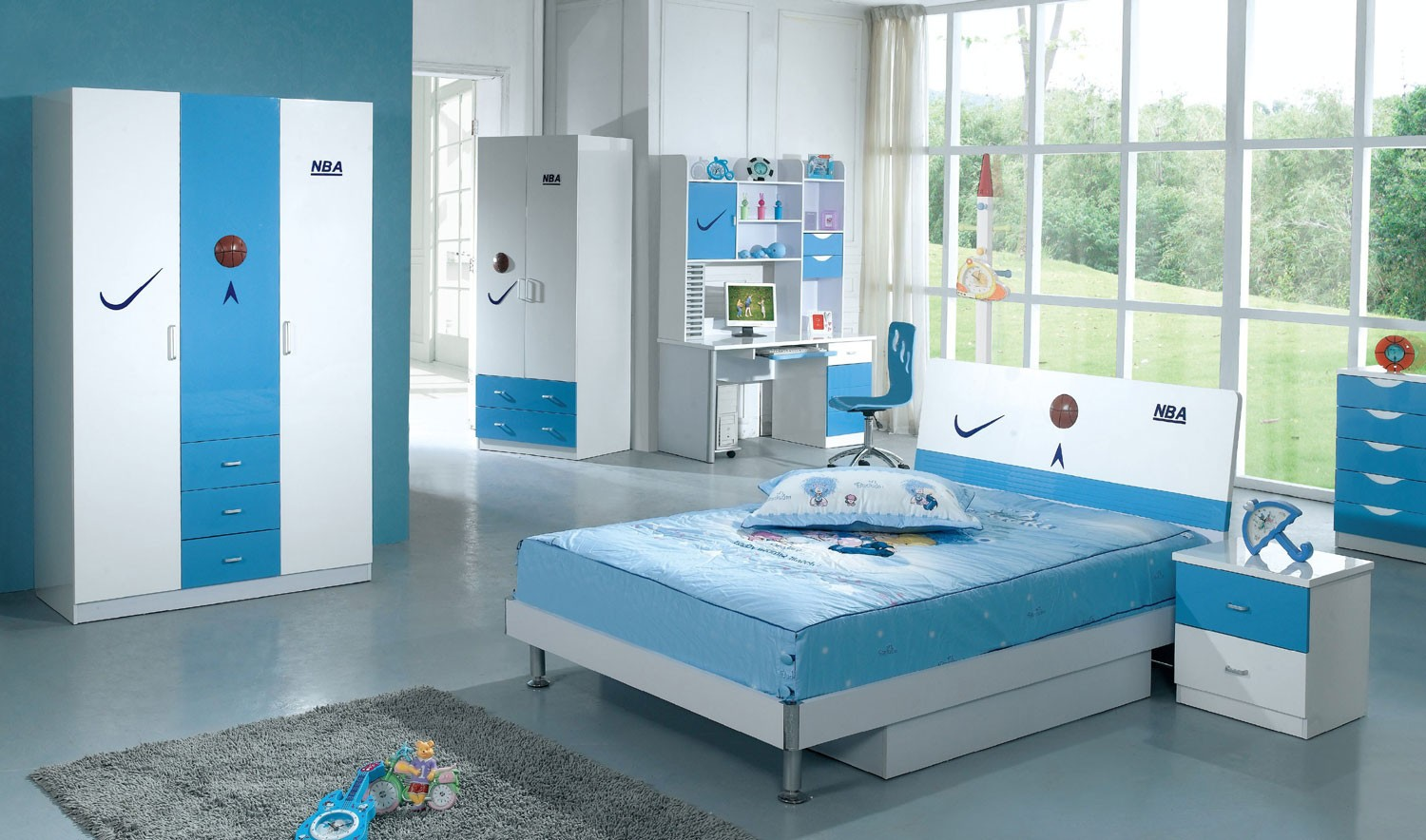 100b Modern Kids Basketball Bedroom Set With Twin Or Full Bed