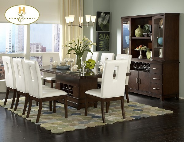 1410 92 Elmhurst Dining Room Set With Wine Storage Table