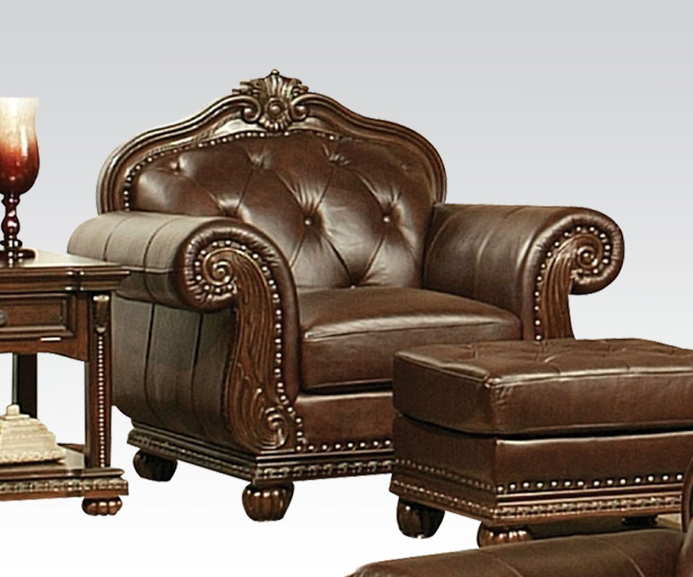 Anondale Classic Living Room Set In Brown Leather