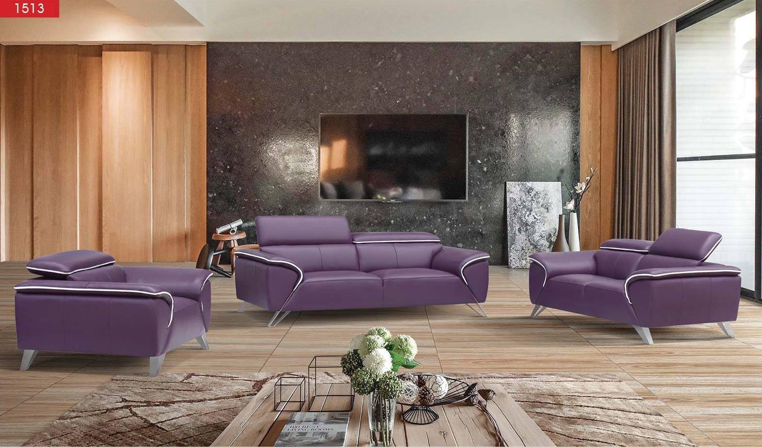 1513 purple leather living room set by esf furniture. Black Bedroom Furniture Sets. Home Design Ideas