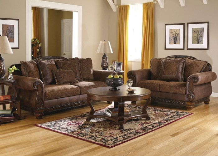 Bradington Traditional Living Room Set In Truffle Color