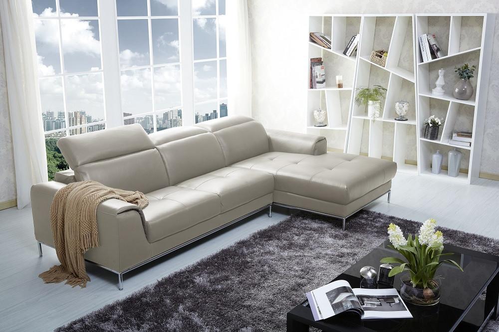 Awe Inspiring 1727 Modern Beige Leather Sectional Sofa Evergreenethics Interior Chair Design Evergreenethicsorg