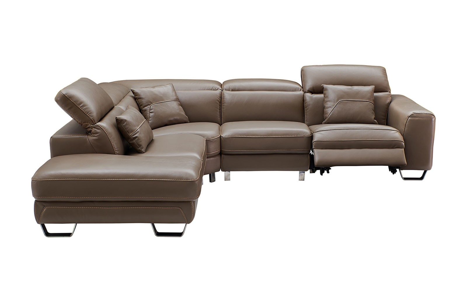 Esf 468 Sectional Sofa Brown Leather With Power Recliner