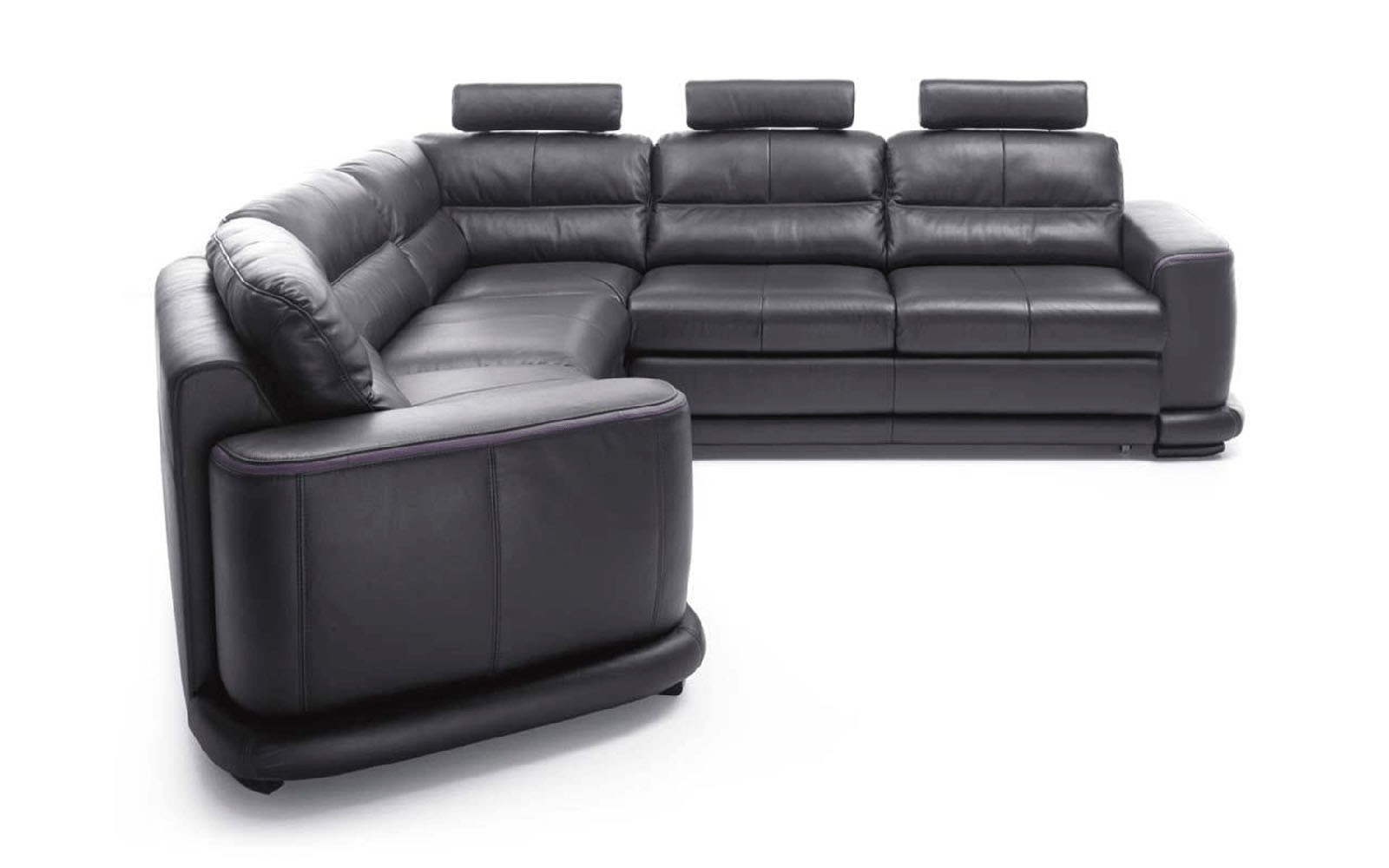 esf camino sectional sofa bed in black full leather