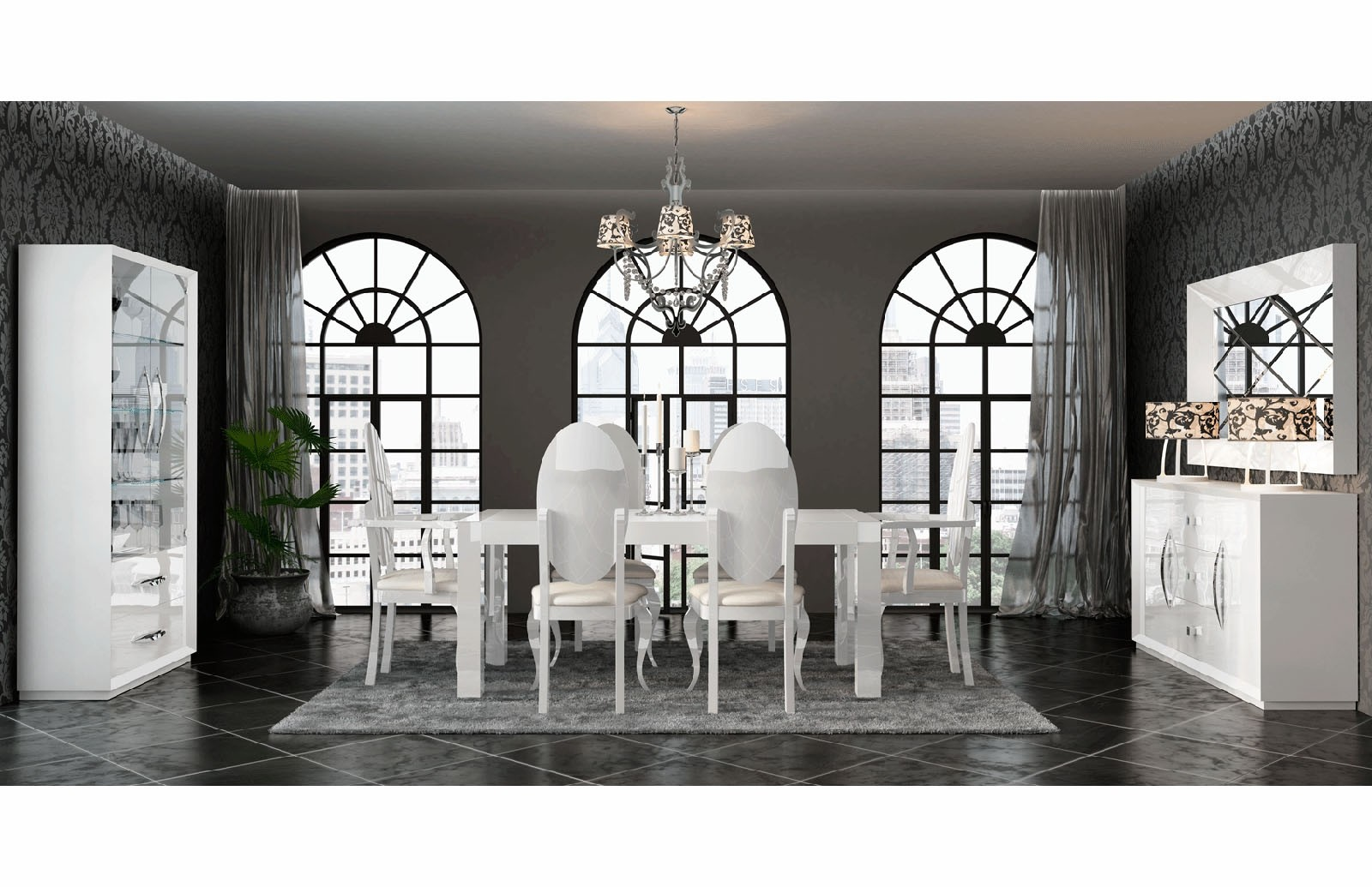 D313 Modern Dining Room Set In White Lacquer Finish: ESF Carmen Dining Room Set In White Lacquer Finish