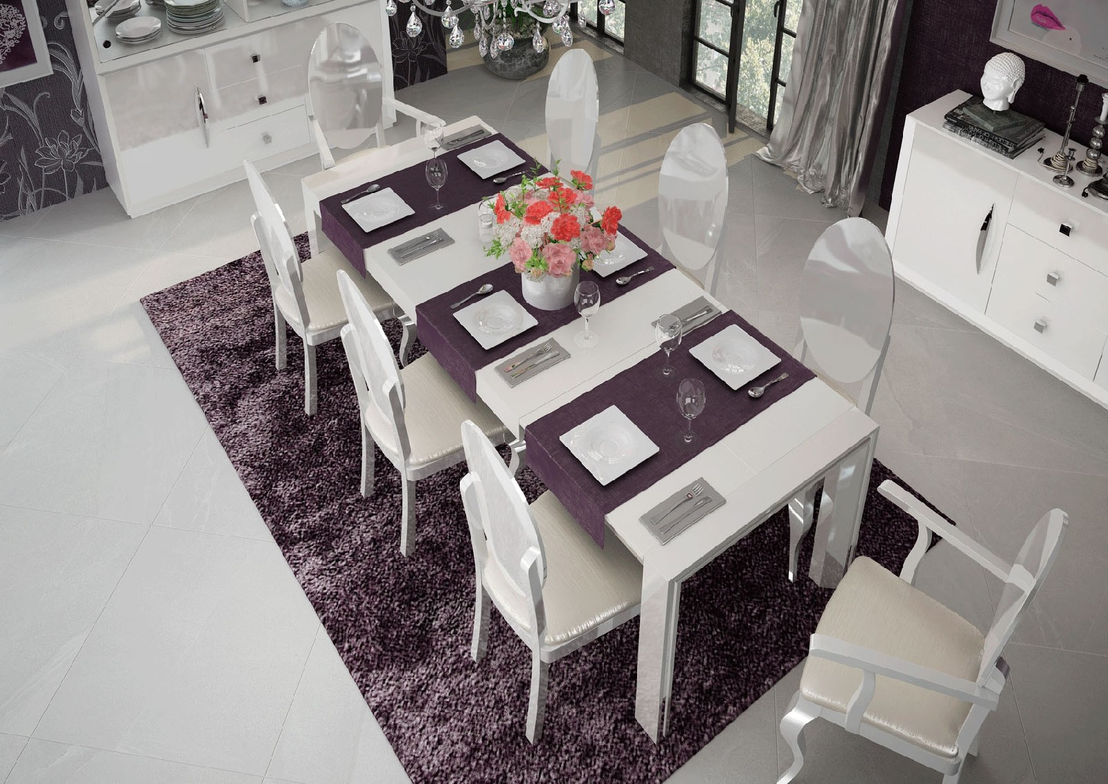 ESF Carmen Dining Room Set In White Lacquer Finish