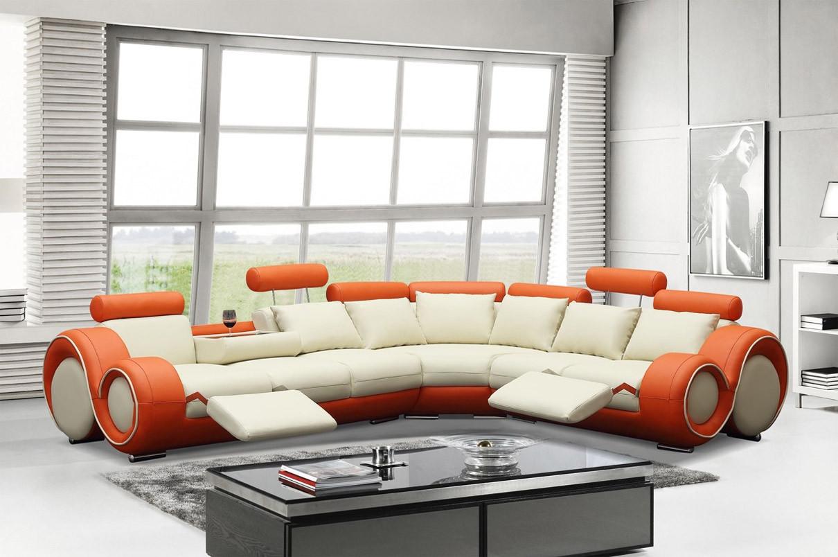 Divani Casa 4087 Reclining Sectional Sofa Orange And Cream