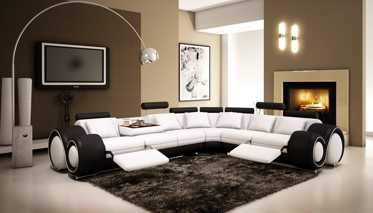 Divani Casa 4087 Reclining Sectional Sofa In White And Black