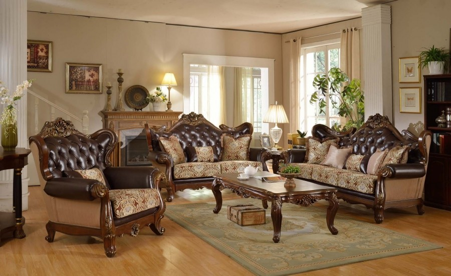 601 Traditional Living Room Set in Leather and Fabric