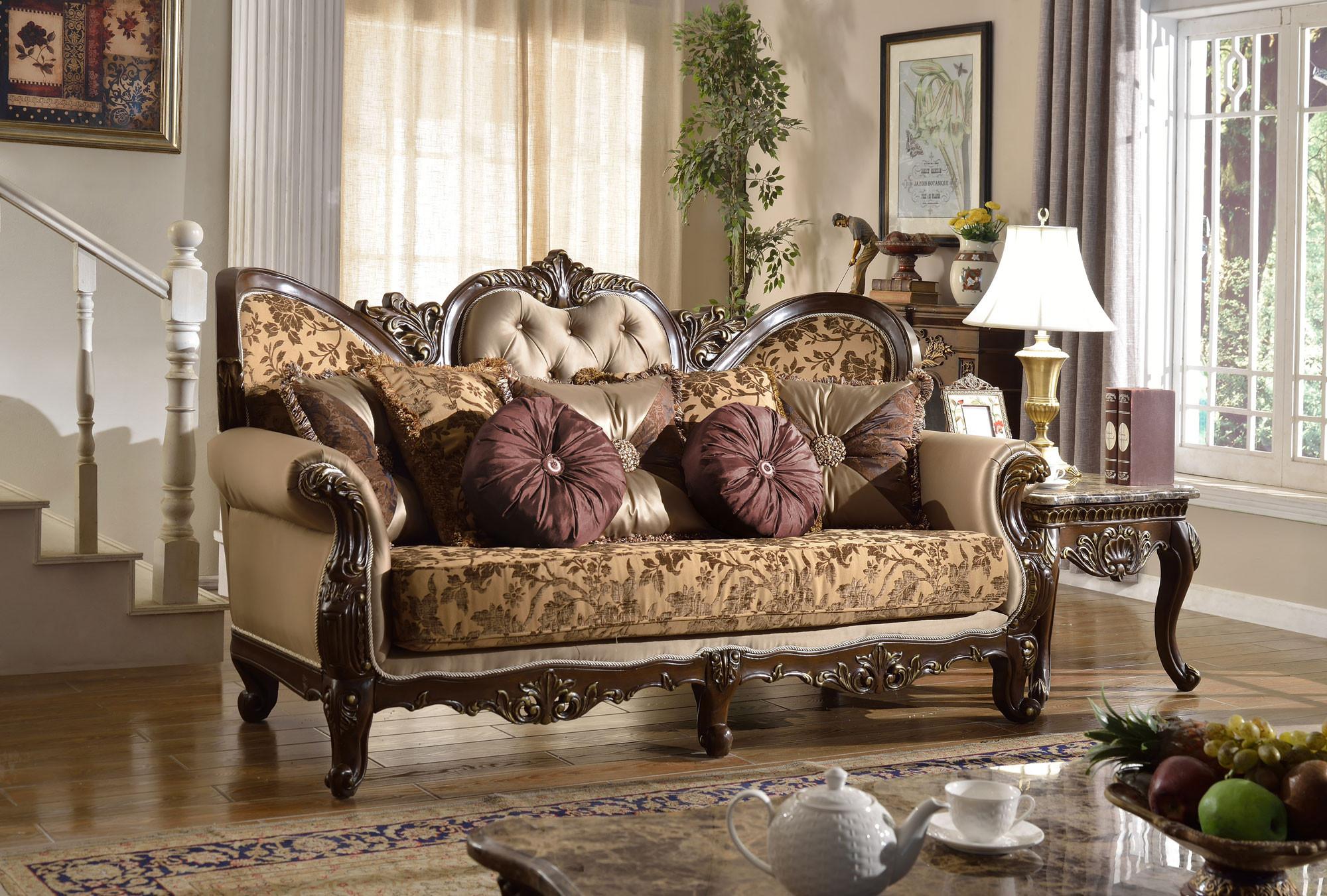 610 Catania Living Room Set in Dark Cherry Finish Trim