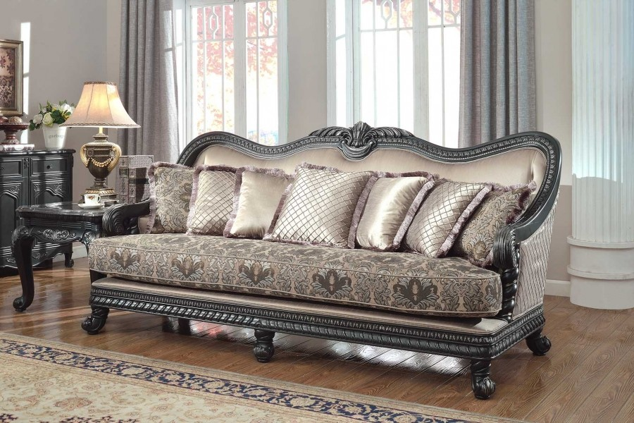 618 Living Room Set Black Finish Wood Trim
